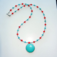 Turquoise Pendant with Turquoise, Silver and Red Beading Necklace