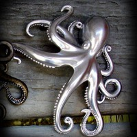 Massive silver tone Octopus hair clip and by SteampunkCouture