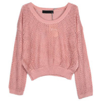 Hollow Out Pink Short Sweater [NCSWX0015] - $65.99 :