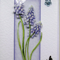 Blue Grape Hyacinth Hand-Crafted 3D Decoupage Card - Blank for any Occasion (1491)