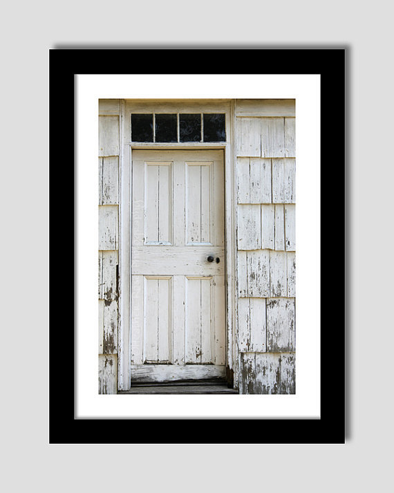 Old White Wooden Door 8inx12in Photograph - Old White house - Old Wood Door - Rustic Print
