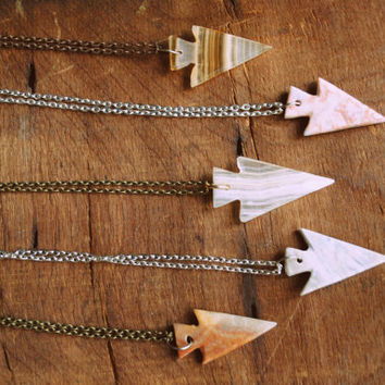 Give Me Strength Agate Arrowhead Necklace