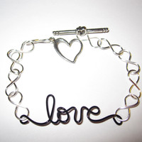 Infinity Love Bracelet Silver Plated and Black Copper Wire Wrapped