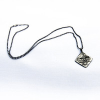 Aged Sterling Surfer Crossing pendant with ballchain