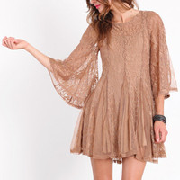 Lacy Allure Mocha Dress - &amp;#36;52.00 : ThreadSence.com, Your Spot For Indie Clothing &amp; Indie Urban Culture