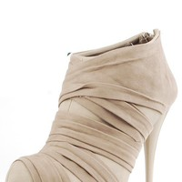 Qupid Neutral95 Taupe Velvet Strap Wrapped Booties and Shop Boots at MakeMeChic.com