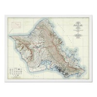 Oahu Hawaii Topographical Map 1938 Posters from Zazzle.com