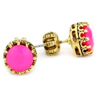 Juicy Couture &quot;Palm Beach Poolside&quot; Princess Ultra Fuchsia Stud Earrings - designer shoes, handbags, jewelry, watches, and fashion accessories | endless.com