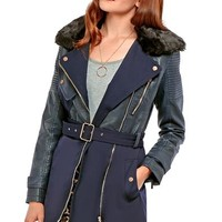 Kayla Longline Jacket With PU And Faux Fur Collar in Navy