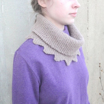 Alpaca Cowl Scarf, Light Tan Brown, Scallop & Points, Neckwarmer