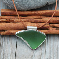 Sea Glass Necklace. Green Glass. Abstract shape. Sterling silver bezel set pendant. Leather necklace. Big Handmade jewelry. OOAK.