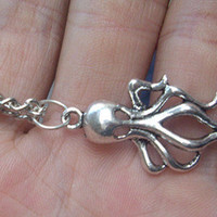 Baby Octopus Earrings Charm cute necklace in silver