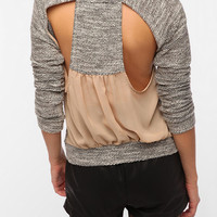Sparkle &amp; Fade Chiffon Back Cutout Sweatshirt