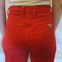 VTG Hipster Cool 80s GUESS RED HIGH WAISTED Fun Amazing Women Size 28-30 JEANS