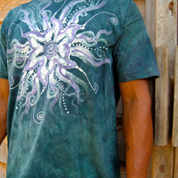 Batik Star in Teal and Purple Organic Cotton Men's Tshirt