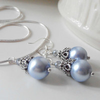 Bridesmaid Jewelry Bridesmaid Sets Necklace and Earrings Light Blue Pearl Pendant Blue Wedding Pearl Necklace Blue Necklace Bridesmaid Gift