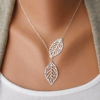 Fashion silver leaves necklace chain necklace women necklace girls necklace made of silver leaves chain pendant necklace  XL-2518