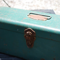 Vintage Rusty and Green Metal Tool Box with by AGlimpseFromthePast