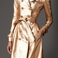 Long Metallic Leather Trench Coat