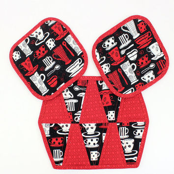 Coffee Hot Pads and Mug Rug or Trivet - 3 piece set in Red and Black and White with Coffee Cups