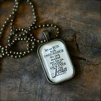 Hebrews 12:1-2 Run with endurance fix your eyes on JESUS necklace