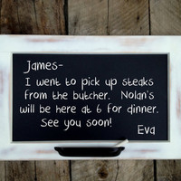 Rustic White Framed Chalkboard -- Medium Size 23 x 15 inch Chalkboard with Oil-Rubbed Bronze Chalk Tray