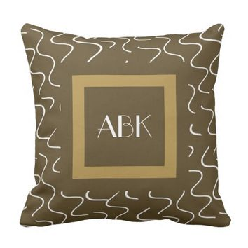 Chic Monogram Pillow, Gold & Bronze w/ White