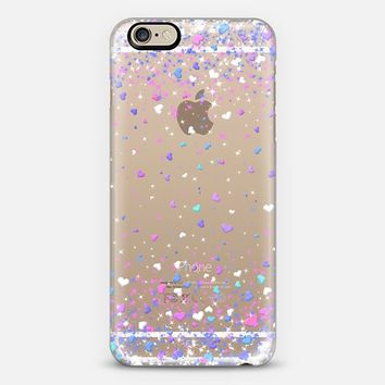 Blue Purple Hearts Rain Transparent iPhone 6 case by Organic Saturation | Casetify