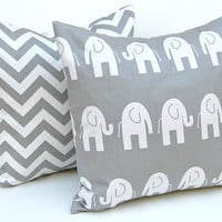 Decorative Pillows Children Decor Gray Animal Pillow Covers Accent Pillows Nursery Decor 18 x 18 Inches Elephant and Chevron Prints