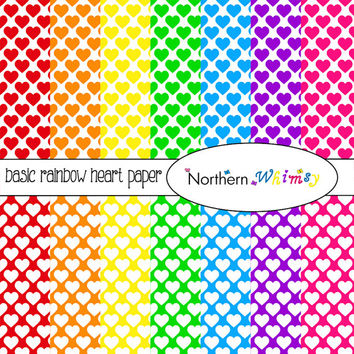 Bright Rainbow Hearts Digital Paper Pack – bright scrapbook papers for invitations, card making & web backgrounds – instant download – CU OK
