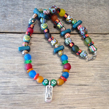 African Trade Bead Necklace, Ethnic, Tribal, Beaded, Handmade, Jewelry