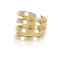 River Island Womens Gold tone multi row finger top ring