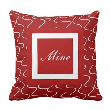 Elegant Yours/Mine Pillows, Red/White, customize