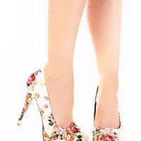 White Multi Fabric Floral Printed Platform Heels