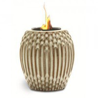 White/Brown Ribbed Flamepot