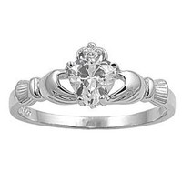 Amazon.com: STERLING SILVER RING WITH CZ - Claddagh - Size 4: Jewelry