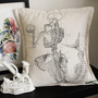 Antique Anatomical Mermaid Pillow silk screened by wengergirl