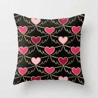 Golden Wings of Love Pattern Throw Pillow by Lisa Argyropoulos