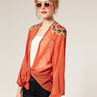 ASOS | ASOS Embroidered Shoulder Kimono Jacket at ASOS