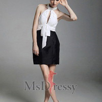 Sheath/Column Halter Short/Mini Taffeta Evening Dress with Beading and Sash at Msdressy