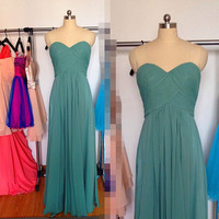 Long ocean green Bridesmaid Dress Chiffon strapless sweetheart Prom Dresses Formal Dress Wedding Party Dresses