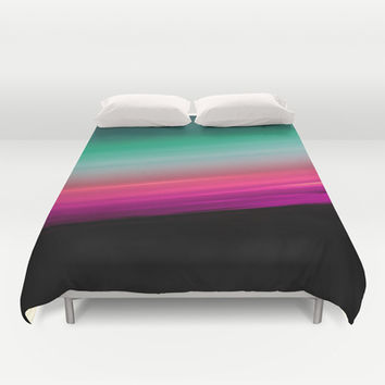 Fuchsia to Teal Smooth Ombre Duvet Cover by 2sweet4words Designs