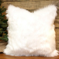 Faux Fur Pillow Cover Winter White Throw Pillow, Chenille  Accent Pillow, Decorative Pillow 10 Sizes including 18 x 18 and 20 x20