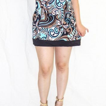 BROWN N TURQUOISE CONNECTED APPAREL DRESS