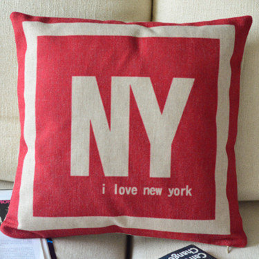 I Love NY Print Decorative Pillow [094] : Cozyhere