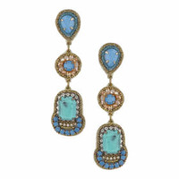 Semi Precious Stone Drop Earrings - Navy Blue