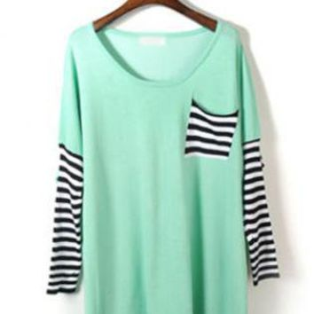 Bat Sleeve Striped Sweater  S003123