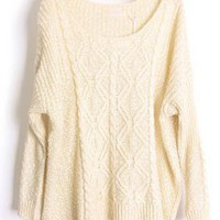 Round Neck Bat Sleeve Beige Sweater S001764