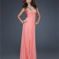 Elegant Chiffon Spaghetti Strap Empire V-neck with Beadings Column Prom Dress PD2124 Dresses UK