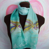 Handpainted Dragonfly Silk Scarf in Turquoise